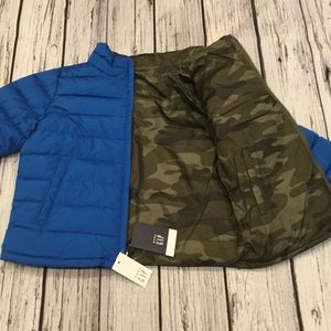 Gap Boys Camouflage & Blue Reversible Puffer Coat